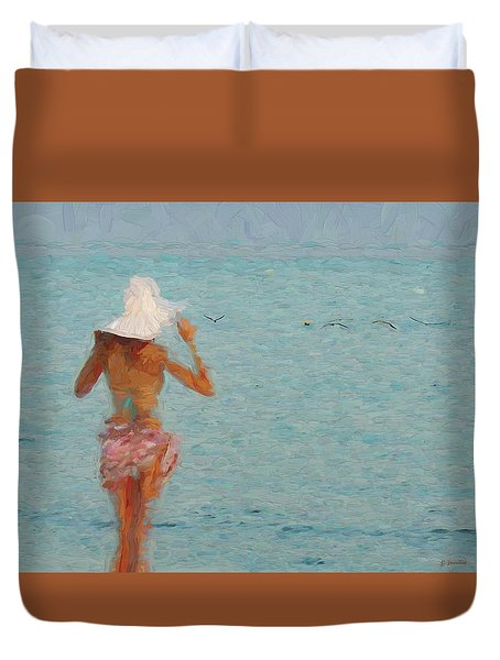 Lady At The Beach Duvet Cover