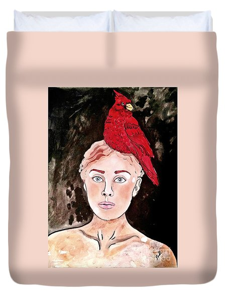 Lady Cardinal Duvet Cover by Amy Sorrell