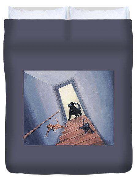 Lady Chases The Cats Down The Stairs Duvet Cover