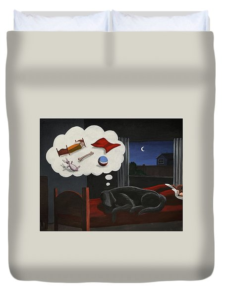 Lady Dreams About Her Favourite Things Duvet Cover