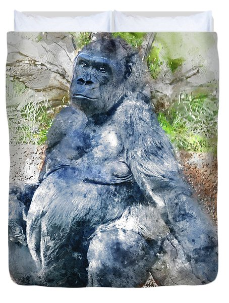 Lady Gorilla Sitting Deep In Thought Duvet Cover