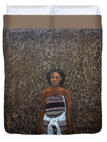 Lady In  A Kikoyi Duvet Cover by Ronex Ahimbisibwe