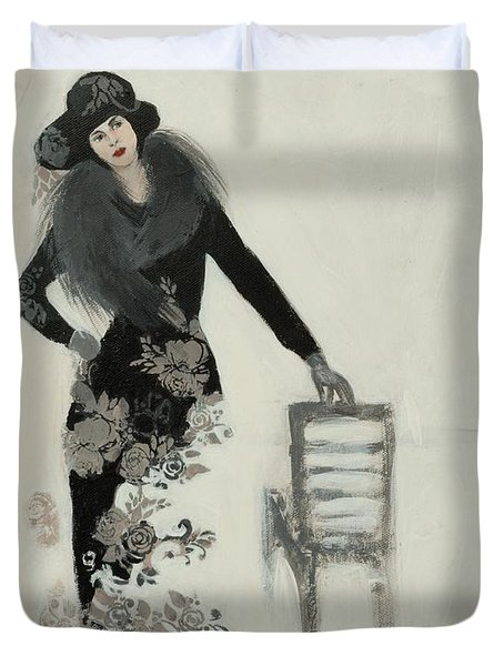 Lady In Black With Flowers Duvet Cover