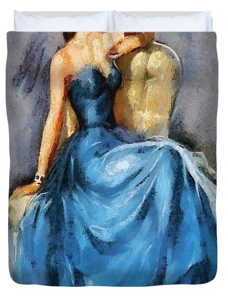 Lady In Blue Duvet Cover