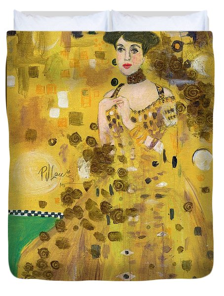 Lady In Gold Duvet Cover by P J Lewis