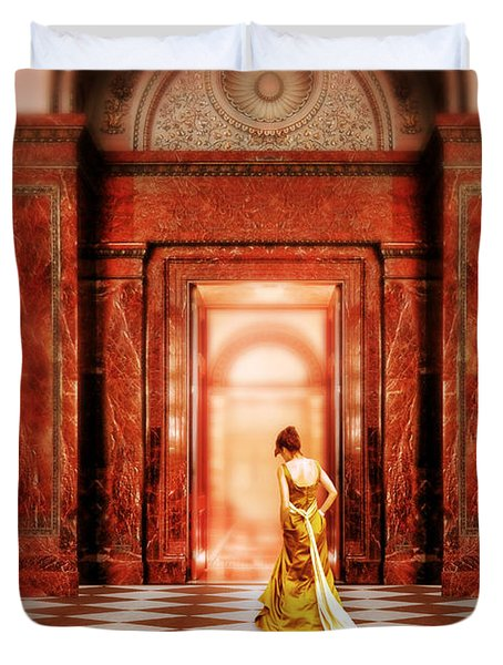 Lady In Golden Gown Walking Through Doorway Duvet Cover