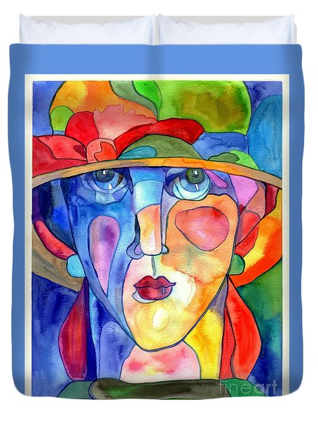 Lady In Hat Watercolor Duvet Cover