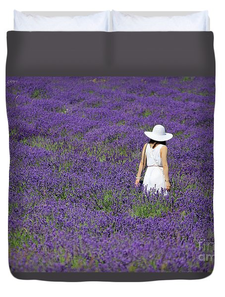 Lady In Lavender Field Duvet Cover