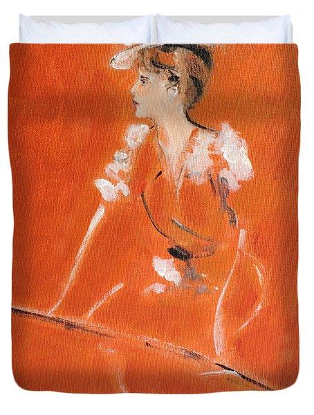 Lady In Orange Duvet Cover