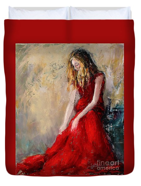 Lady In Red 2 Duvet Cover