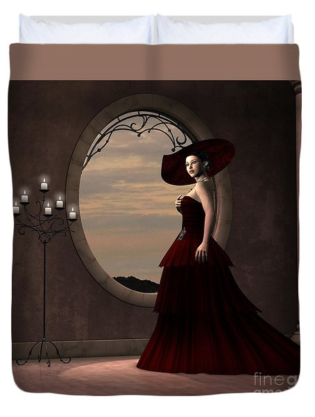 Lady In Red Dress Duvet Cover by Corey Ford