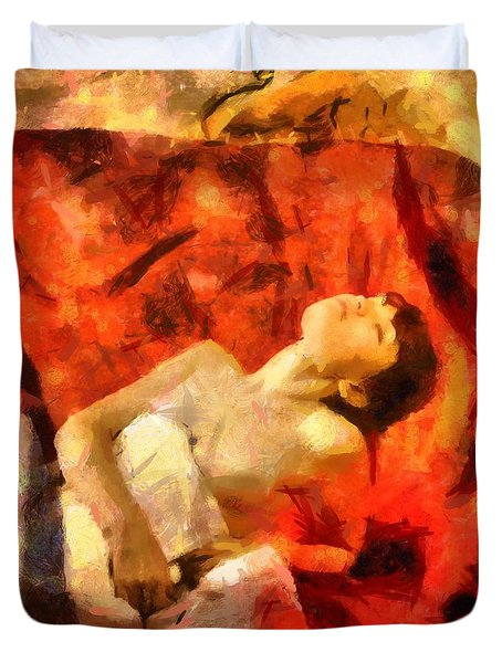Duvet Cover featuring the digital art Lady In Red by Gun Legler