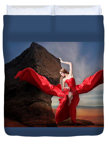 Duvet Cover featuring the mixed media Lady In Red by Marvin Blaine