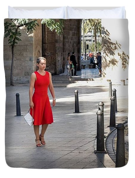 Lady In Red. Valencia, Spain  #fuji Duvet Cover