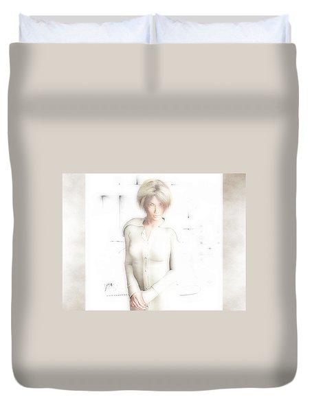Lady In White Duvet Cover