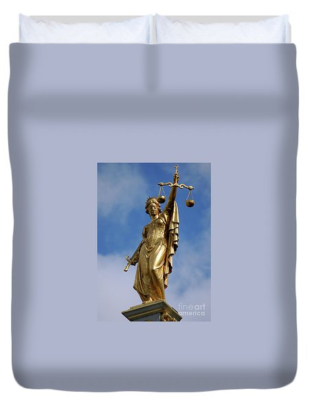 Duvet Cover featuring the photograph Lady Justice In Bruges by RicardMN Photography