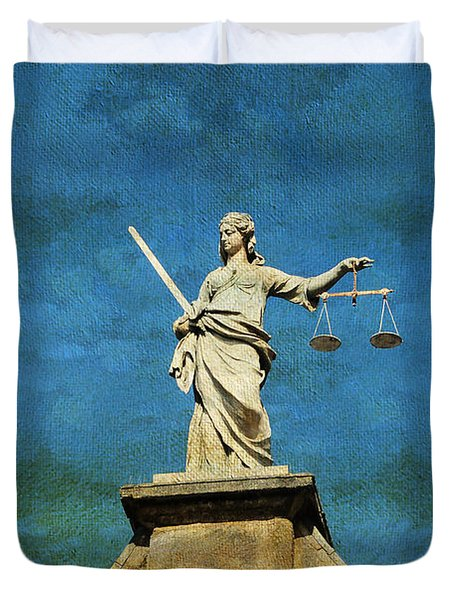 Lady Justice. Streets Of Dublin. Painting Collection Duvet Cover