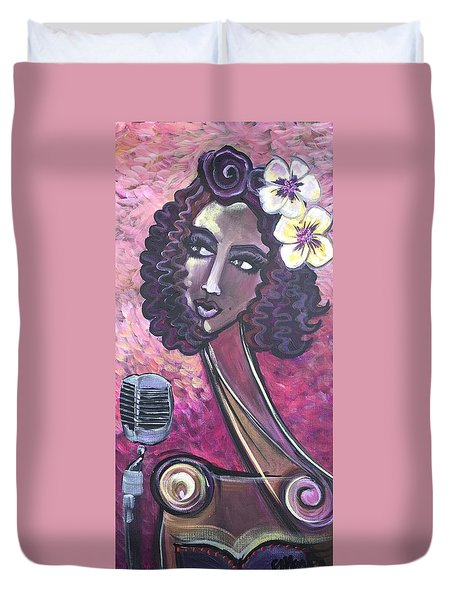 Duvet Cover featuring the painting Lady Lauren Midnight Singer by Laurie Maves ART