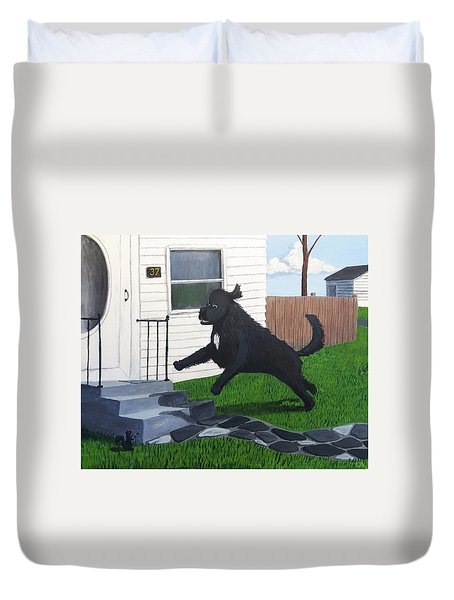 Lady Leaps The Small Front Stairs Duvet Cover