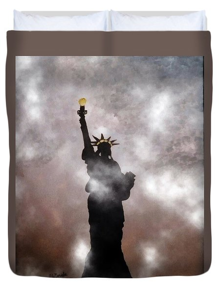 Duvet Cover featuring the photograph Lady Liberty In Fog by Joseph Frank Baraba