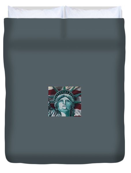 Duvet Cover featuring the painting Lady Liberty by Stan Tenney