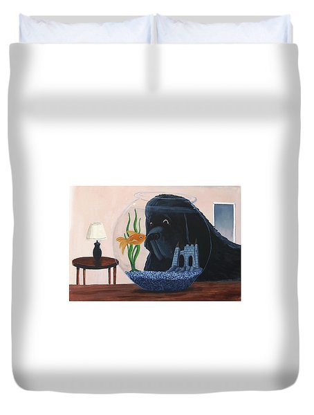 Lady Looks In The Fish Bowl For Mommy And Daddy Duvet Cover