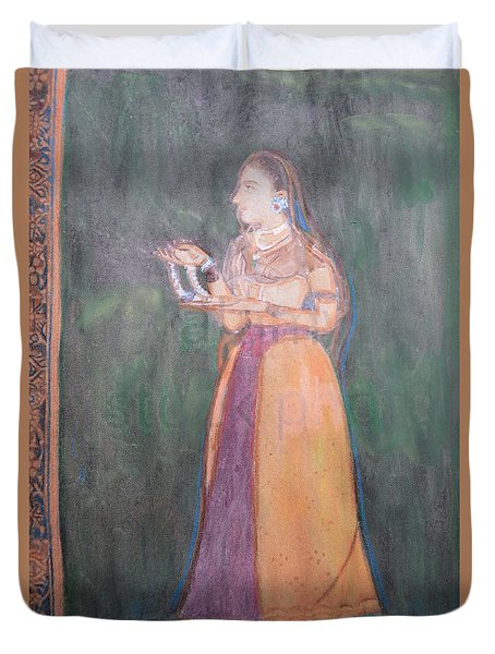 Duvet Cover featuring the painting Lady Of The Court by Vikram Singh