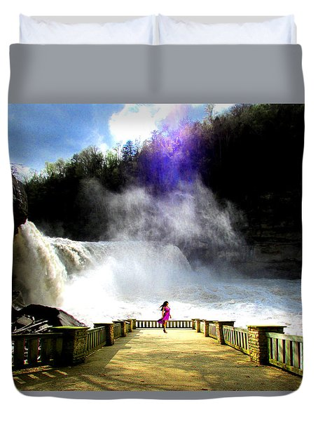 Duvet Cover featuring the photograph Lady Of The Falls by Michael Rucker