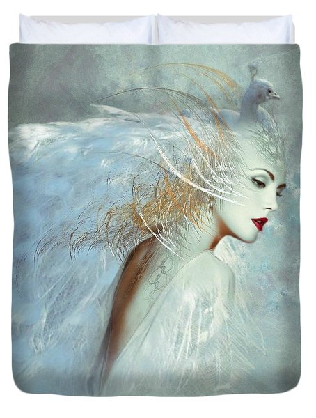 Lady Of The White Feathers Duvet Cover