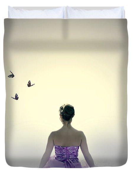 Lady On The Beach Duvet Cover by Joana Kruse