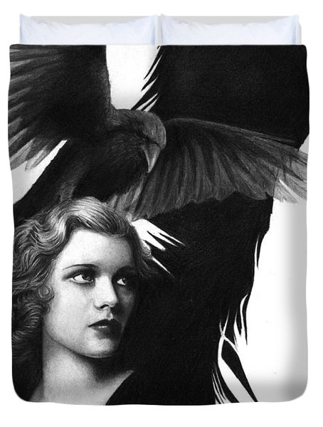 Lady Raven Surreal Pencil Drawing Duvet Cover