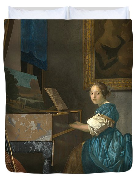 Lady Seated At A Virginal Duvet Cover