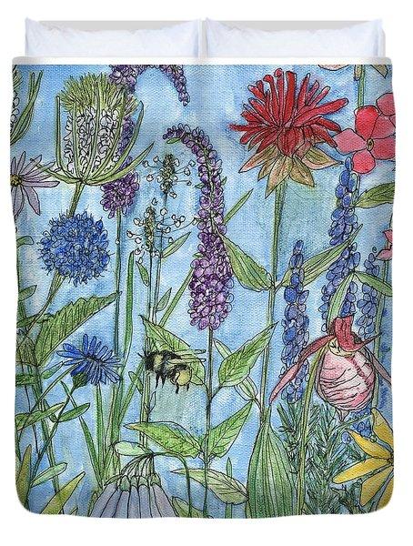 Lady Slipper In My Garden  Duvet Cover