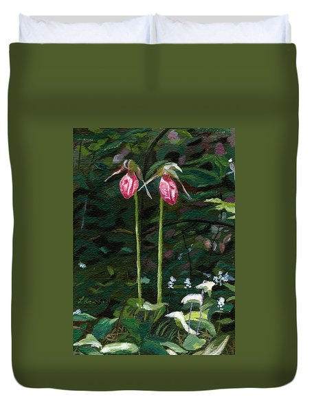 Duvet Cover featuring the painting Lady Slipper by Lynne Reichhart