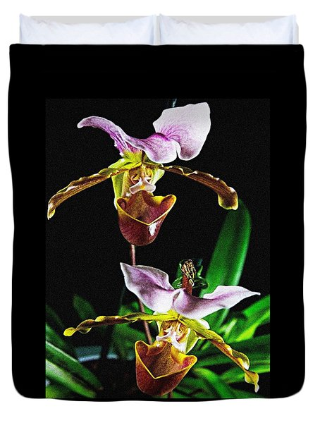 Lady Slipper Orchid Duvet Cover by Elf Evans