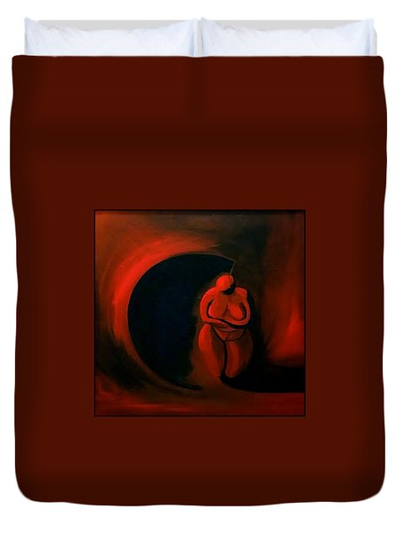 Duvet Cover featuring the painting Lady Willendorf by James Lanigan Thompson MFA