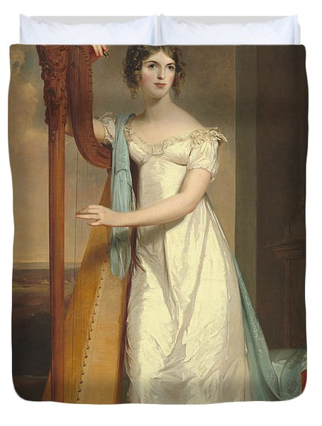 Lady With A Harp Duvet Cover