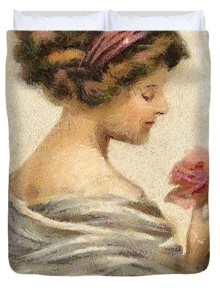 Lady With A Rose Duvet Cover