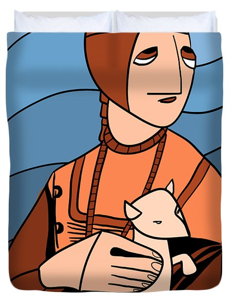 Lady With An Ermine By Piotr Duvet Cover