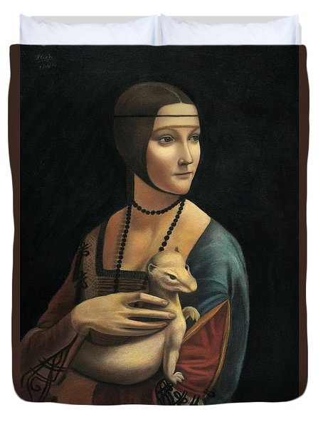 Lady With Ermine - Pastel Duvet Cover by Vishvesh Tadsare