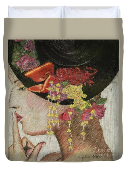 Lady With Hat Duvet Cover by Jacqueline Athmann