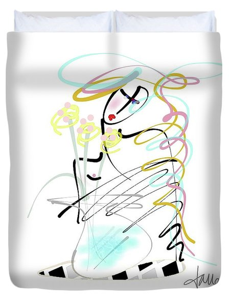Duvet Cover featuring the mixed media Lady With Yellow Flowers by Larry Talley