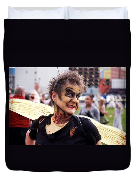 Duvet Cover featuring the photograph Lady Zombee by Vinnie Oakes