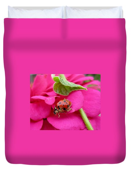 Duvet Cover featuring the photograph Ladybug - Gardening by Susan Carella