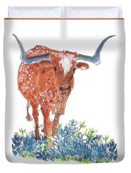 Ladybug In The Bluebonnets Lh002 By Kmcelwaine Duvet Cover