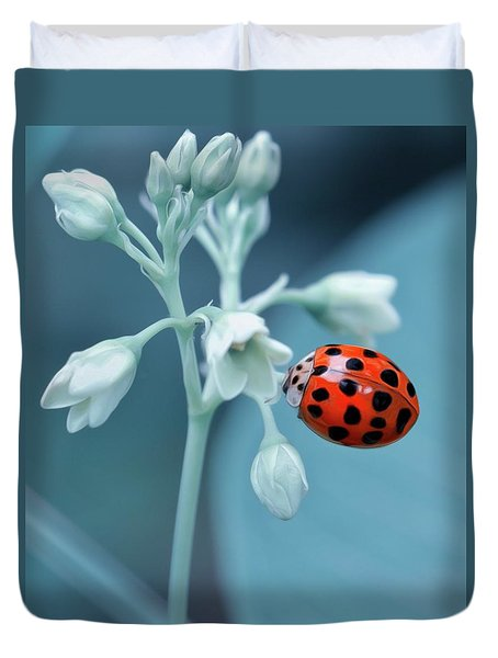 Duvet Cover featuring the photograph Ladybug by Mark Fuller