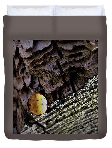 Ladybug On A Log Duvet Cover