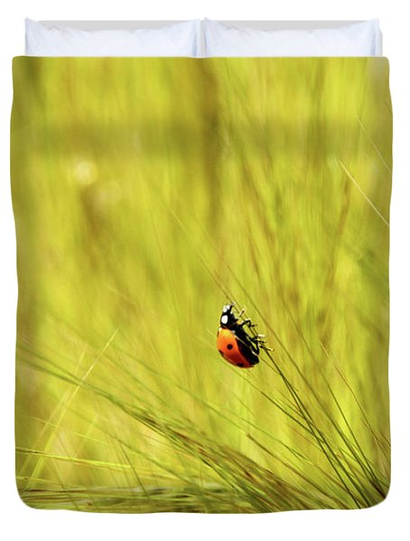 Ladybug In A Wheat Field Duvet Cover