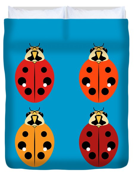 Duvet Cover featuring the digital art Ladybug Quartet by MM Anderson