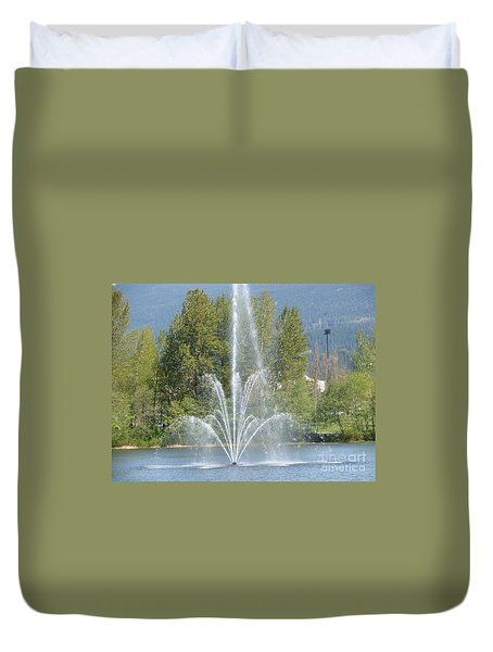 Duvet Cover featuring the painting Lafarge Lake Fountain by Rod Jellison